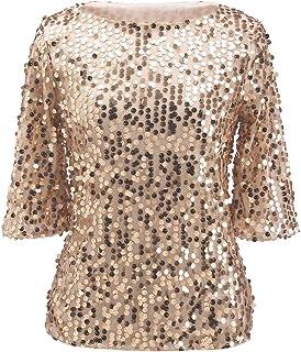 e49560261e0a4 Women Sequin Sparkle Glitter Tank Cocktail Party Tops Shining T-Shirt  Blouses