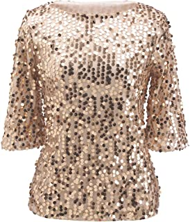 Women Sequin Sparkle Glitter Tank Cocktail Party Tops Shining T-Shirt Blouses