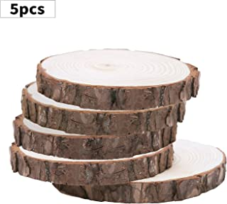 """Fuhaieec 5pcs 5.5""""-7"""" Unfinished Natural Wood Slices Circles with Tree Bark Log Discs for DIY Craft Woodburning Christmas Rustic Wedding Ornaments"""