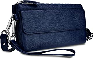 YALUXE Women's Leather Smartphone Wristlet Crossbody Clutch with RFID Blocking Card Slots Blue
