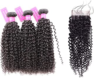 Original Queen 100% Brazilian Unprocessed Virgin Kinky Curly Human Hair Weave 3 Bundles With Closure Deep Curly Hair Extensions Mixed Length 12 14 16inches With 12inches Free Part Closure