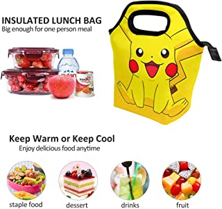 Lunch Bag Smile Pikachu Insulated Lunch Tote Boxes Cooler Bag For Adults Men Women Kids Boys Nurses Teens