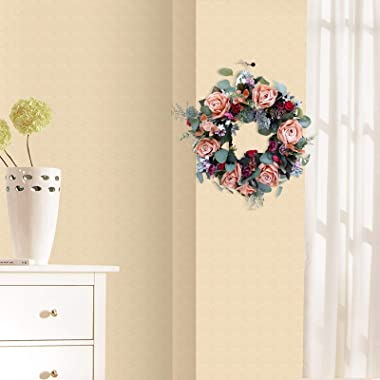 Darkduke Spring Wreath for Front Door, Artificial Peony Flower Wreath Silk Wreath 15.7-Inch Beautiful Handcrafted Mix Flowers