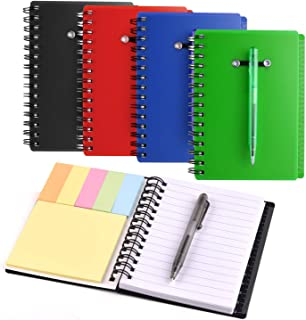 Coopay 4 Pieces Spiral Notebook Steno Pocket Notepad with Pen in Holder and Sticky Notes, Page Marker Index Tabs Flags (Black, Blue, Red, Green)