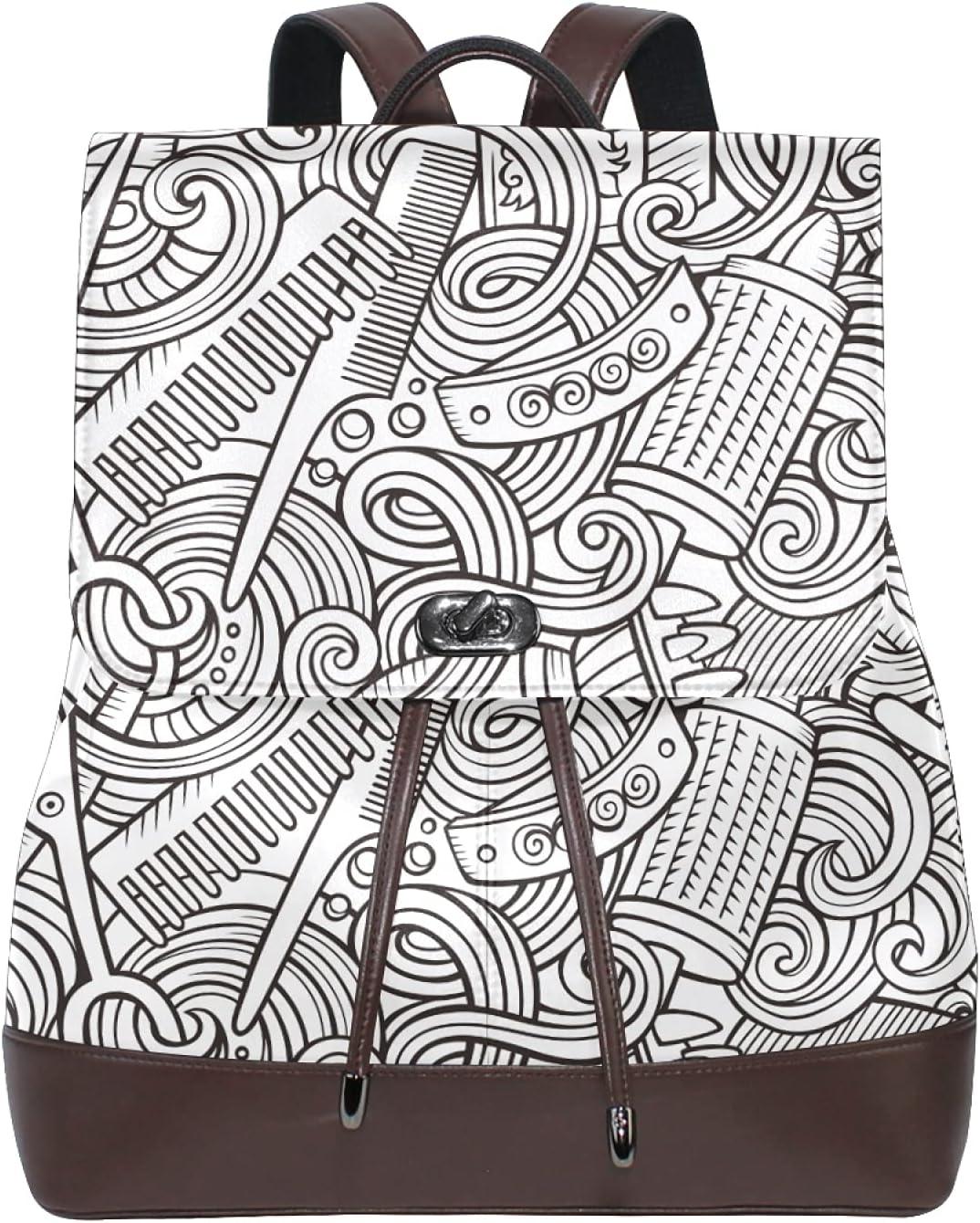 Women Leather Backpack Ladies Fashion Shoulder Bag Large Travel Bag Doodle Hair Salon