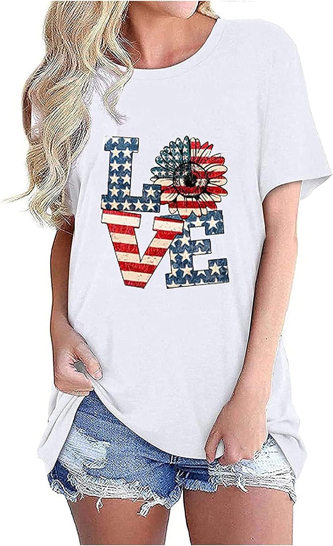 American Flag T Shirt Women Stars Stripes 4th of July Raglan Short Sleeve Tops Graphic Patriotic Top Tees