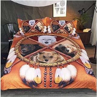 W-L Funda Nórdica Lobo Dreamcatcher Lecho Rey Funda Nórdica Colchas Animales 3D Tribal Dormitorios León del Leopardo del Tigre Juego De Cama (Color : B, Size : AU King)