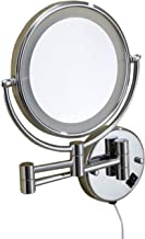 Makeup Mirror LED Lighted Normal + 3X Magnification Double Sided Bathroom Mirror Swivel Extendable Round Shape Folding Bea...