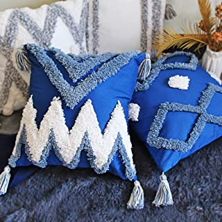 TINYSUN 2 Pack White Blue Decorative Throw Pilllow Covers Boho Soft Woven Tufted Cotton Pillowcase with Tassels Classic Geometric Pattern Pillow for Couch Sofa Car Bed Room 18x18 Inch,Blue Wave