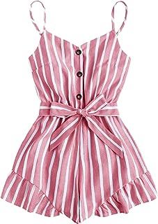 Women's Summer Causal Striped Button Front Tie Waist Strap Short Romper