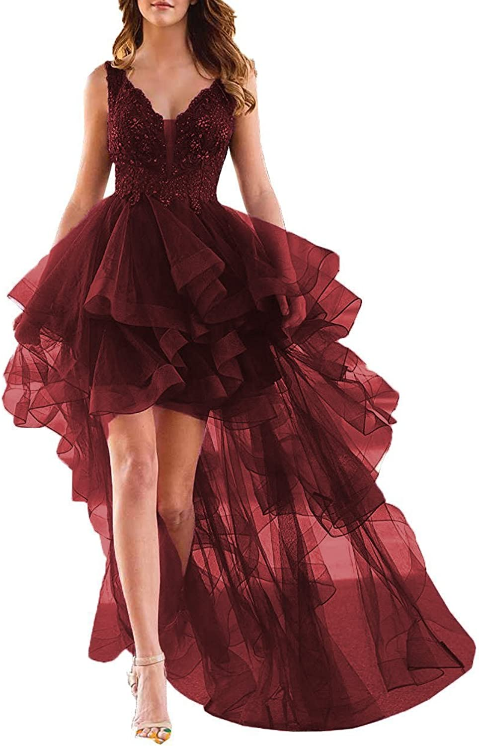 High Low Homecoming Dresses Beaded V Neck Appliques Ruffled Evening Formal Gowns