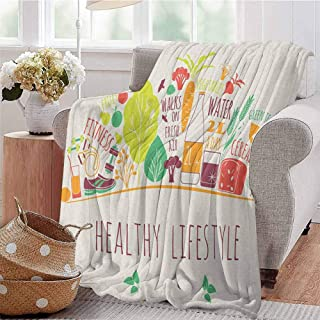 Luoiaax Fitness Children's Blanket Colorful Cute Collection of Bodycare Icons Natural Freshness Clean Eating Diet Lightweight Soft Warm and Comfortable W60 x L50 Inch Multicolor