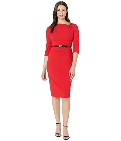 Donna Morgan 3/4 Sleeve Cowl Neck Crepe Midi Dress (Red) Women
