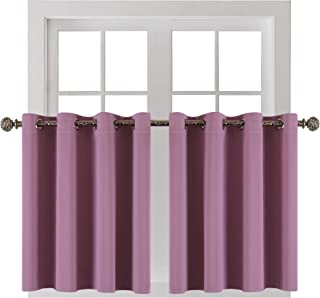 YGO Pinkish Purple Small Curtains for Bathroom -Blackout Thermal Insulating Curtain Tiers for Bedroom with Grommet (52 by 36 Inches,2 Panels)