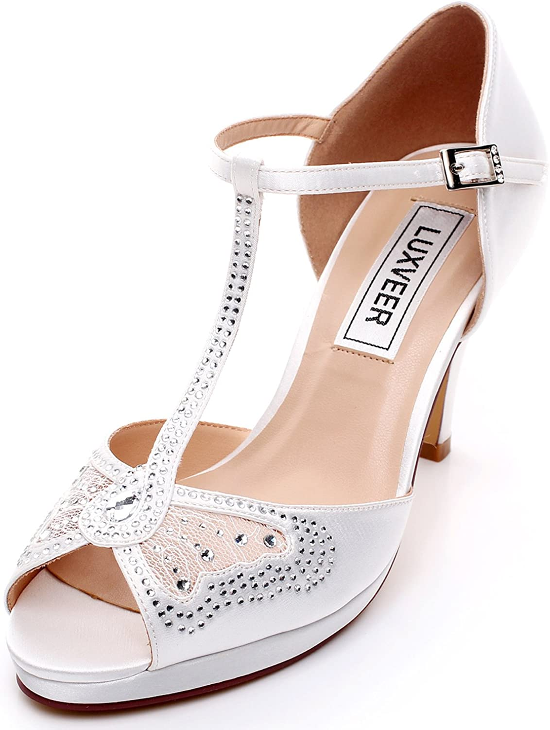 LUXVEER Women Wedding Sandals with Silver Rhinestone and Lace Butterfly - Heels 3.5inch