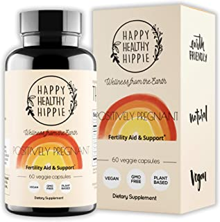 Happy Healthy Hippie Positively Pregnant - Fertility Supplement – Women's Plant Based Hormone Balancing Conception Support...