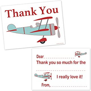 Airplane Fill In Thank You Cards for Boys - Kids Vintage Biplane Aviation Birthday Party Thanks (20 Count with Envelopes)