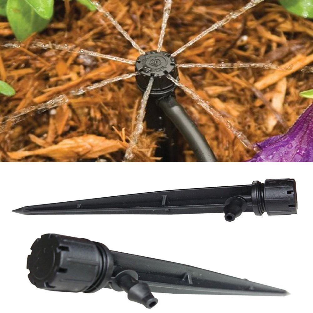 50 PCS ajustable de flujo Micro Drip Cabeza de riego Riego Kits de sistema de auto planta de jardín manguera de riego por nebulización Negro: Amazon.es: Jardín