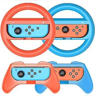 HEYSTOP Volantes y Grip Switch Joy-Con para Nintendo Switch, Switch Joy-Con Racing Wheel Volante, Mandos Grip Joy-Con para Mario Kart Juegos/Joy-Con Mandos Nintendo Switch Deluxe 4 Piezas(Rojo y Azul)