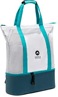 Easthills Outdoors Zipper Top Mesh Beach Tote Bag with Insulated Picnic Cooler, Leak-proof Rigid Bottom Travel Backpack wi...