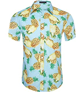 CATERTO Men's Tropical Short Sleeve Floral Print Beach Aloha Hawaiian Quick Dry Shirts
