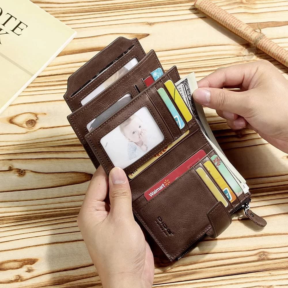 Genuine Leather Wallet- bifold- Real brown leather