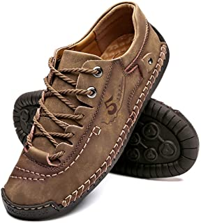 Men's Casual Genuine Leather Shoes Lightweight Handmade Comfortable Slip on Loafers Walking Driving Shoes