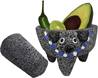 Molcajete Authentic Handmade – PIG HEAD w/BLUE Collar – Mexican Guacamole/Salsa Mortar and Pestle - MOLCAJETE LAVA ROCK – 4 Inches – Molcajete de Piedra Negra/Black Stone Mortar & Pestle