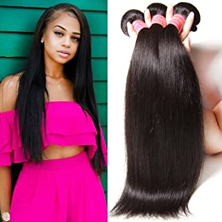 YIROO Brazilian Virgin Straight Hair Weave 3 Bundles 9A 100% Unprocessed Brazilian Virgin Human Hair Weave Extensions Natural Color 95-100g/pc (8 10 12 inch)
