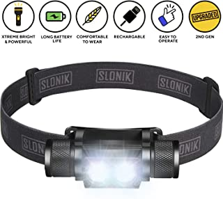 SLONIK 1000 Lumen Rechargeable 2x CREE LED Headlamp w/ 2200 mAh Battery –..