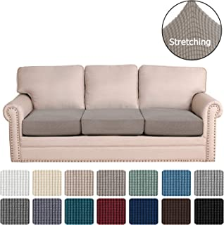 H.VERSAILTEX Super Stretch Stylish Cushions Covers/Furniture Cover Spandex Jacquard Small Checked Pattern Super Soft Slipcover Washable Individual (3-Piece Sofa Cushion, Taupe)