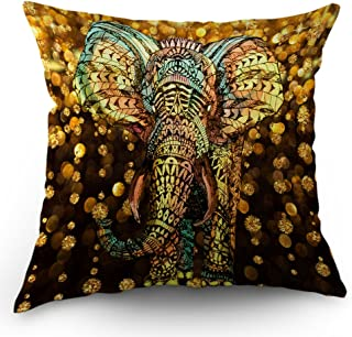 Moslion Elephant Pillow Case Aztec Gold Elephant with Gold Rain Shine Flicker Glow Jewelry Stones Light Throw Pillow Case 18