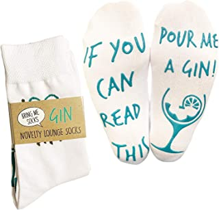 'If You Can Read This Pour Me A Gin' Funny Socks - Perfect Joke Novelty Gift For Men Women and Gin Lovers (Full Length Lounge Socks)