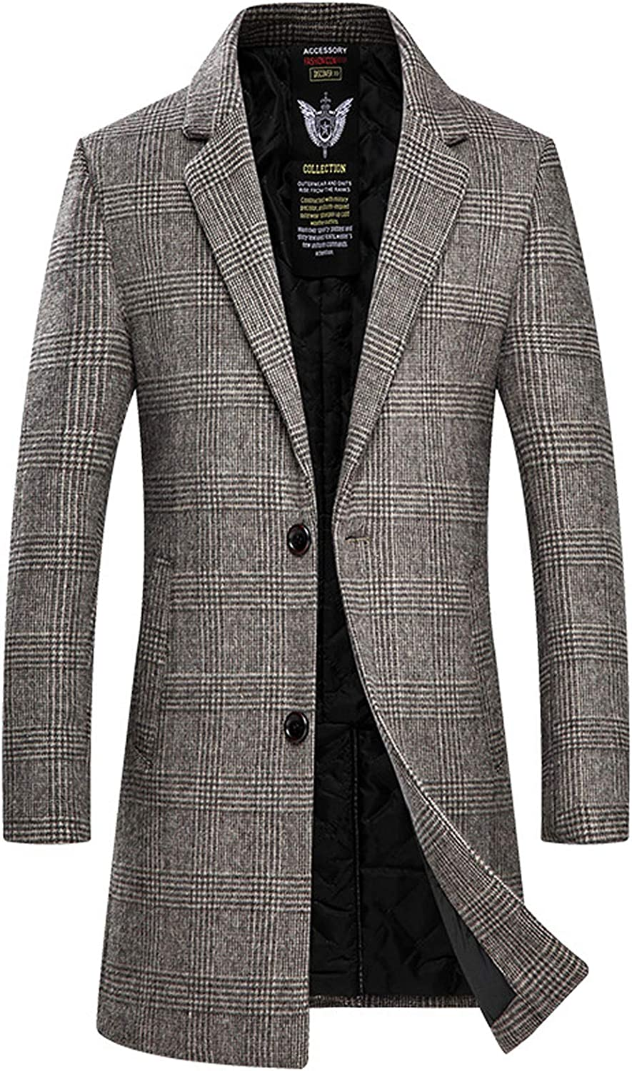 Men's Plaid Pea Coat Wool Blend Notched Lapel Single Breasted Two Buttons Grey Checkered