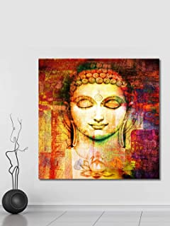 999Store Wooden Stretched Lord Gautam Buddha Budha painting wall buddha frame art bed room living décor home Golden face w...