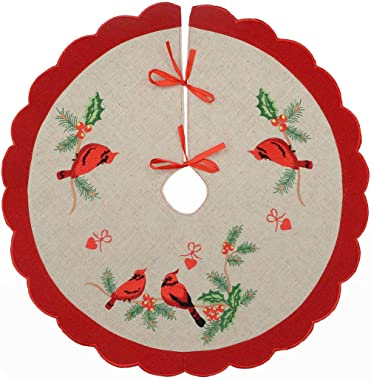 Grelucgo Christmas Holidays Mini Cardinal Tree Skirt for Small Tabletop Pencil Tree only (Diameter 21 inches)