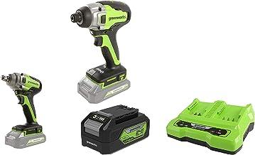 Greenworks Tools Destornillador inalámbrico y de taladro GD24ID + Llave de impacto inalámbrica de batería + Batería G24B4 2ª generación + Batería de doble ranura Cargador universal G24X2C