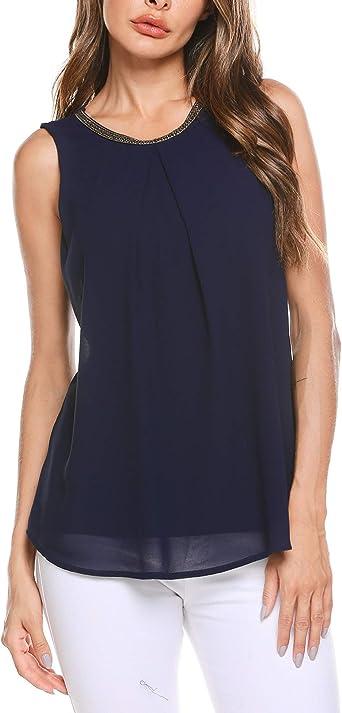 Finejo - Blusa de gasa para mujer, elegante, para verano, sin mangas, con adornos