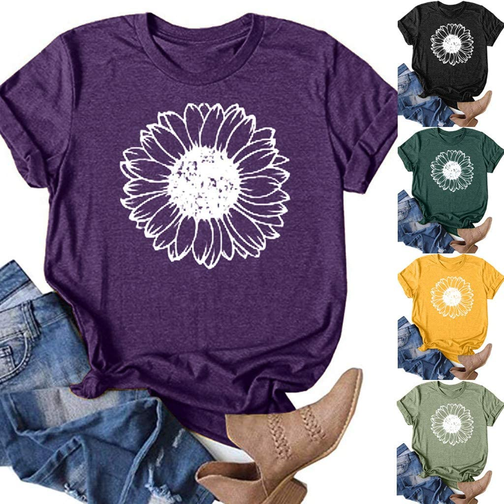 AODONG Floral Graphic T Shirts for Womens Sunflower Printed Graphic Tee Tops Summer Short Sleeve Womens Tshirts