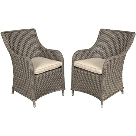 Dellonda Chester Rattan Wicker Garden Dining Chairs with Cushion - DG64