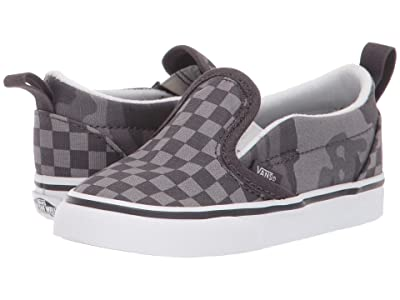Vans Kids Slip-On V (Infant/Toddler) ((Tonal Checkerboard) Obsidian/Camo) Boys Shoes