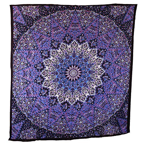 Popular Handicrafts Popular Tapestry Twin Hippie Mandala Bohemian Psychedelic Intricate Floral Design Indian Bedspread Magical Thinking Tapestry 84x54 Inches,(215x140cms) Blue Purple
