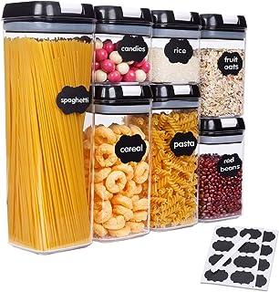 SUCHDECO Lot de 7 boîtes de conservation avec couvercles noirs sans BPA - Idéales pour l'organisation et le rangement dans...