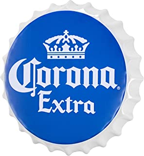 Officially Licensed Corona Extra Bottle Cap Shaped Metal Beer Wall Decor for Bar, Garage or Man Cave (16