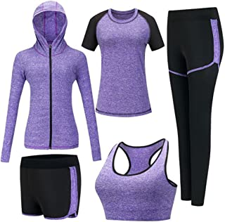 Women's 5pcs Sport Suits Fitness Yoga Running Athletic Tracksuits