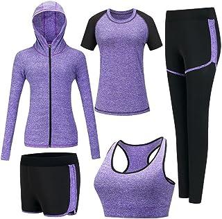 ZETIY Femmes 5 Pièces Ensembles Sportswear Costumes de Sport Gym Yoga Athletisme Fitness Jogging Survêtement