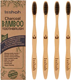 Isshah Biodegradable Eco-Friendly Natural Bamboo Charcoal Toothbrush - Pack Of 4