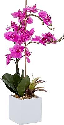 "Deco 79 Magenta Orchid Flower Arrangement in White Cylinder Pot, 23""L x 28""H, Pink, 100038, Large"
