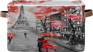 PUXUQU Tour Eiffel Paris Lover Panier de rangement pliable avec poignées Rouge