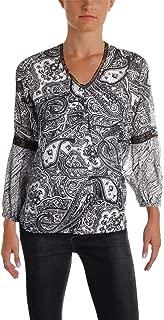 LAUREN RALPH LAUREN Womens Madelyn Embroidered V-Neck Blouse
